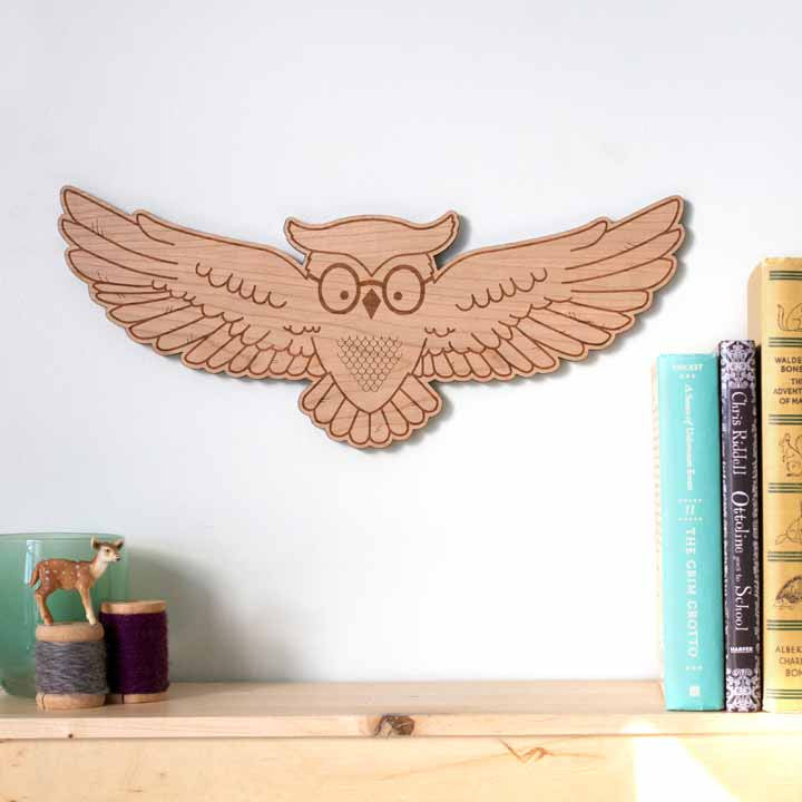hedwig, owl illustration wall art, wood wall panel art for bookcase by peppersprouts