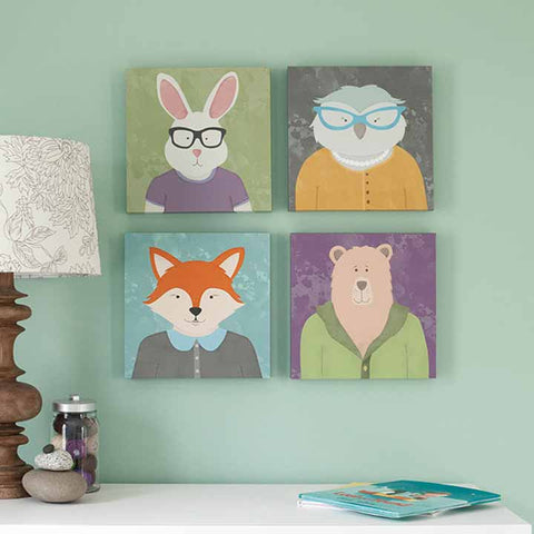 Set of 4 square animal paintings 12 x 12 canvas illustrated choildrens illusrtations, bear, bunny, owl and fox - by peppersprouts. Great gift idea for new baby or your favorite kiddo.