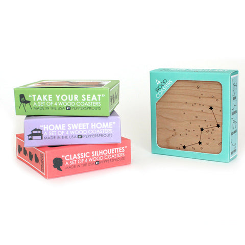 peppersprouts wood coaster collection packaging