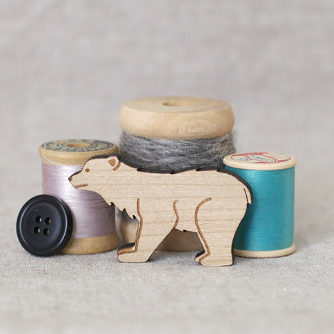 Polar Bear - Wood Brooch