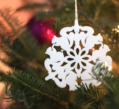 squirrel snowflake ornament laser cut geometric christmas ornament cut from white acrylic, animal series collectable ornaments by peppersprouts on lit tree