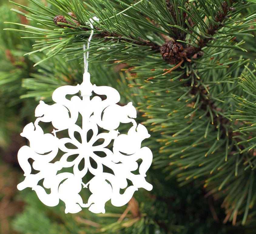 squirrel snowflake ornament laser cut geometric christmas ornament cut from white acrylic, animal series collectable ornaments by peppersprouts