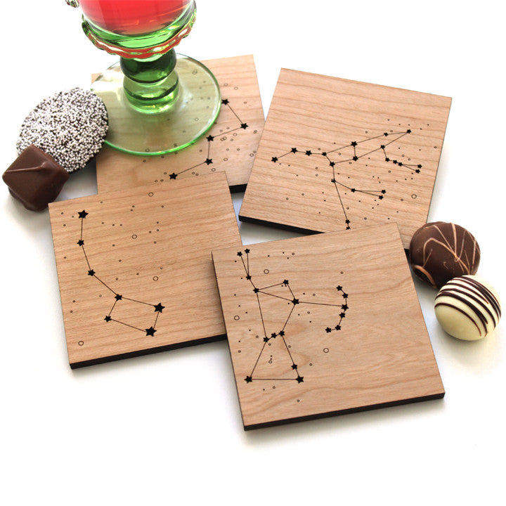 Star Constellations wood coasters, star drink coasters from peppersprouts