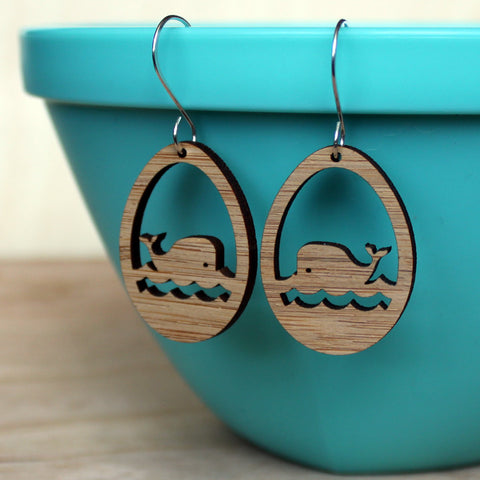 Whale - Bamboo Earrings