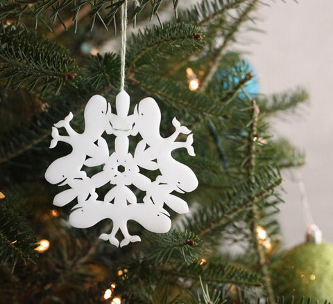 whale snowflake ornament laser cut geometric christmas ornament cut from white acrylic, animal series collectable ornaments by peppersprouts on lit christmas tree