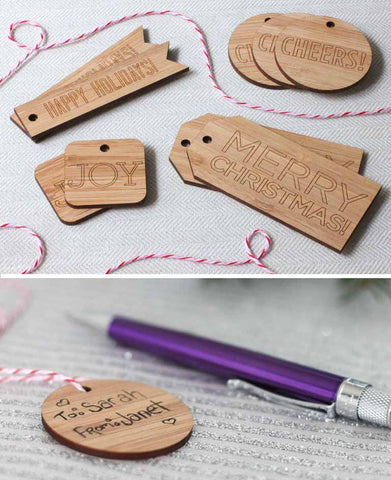 writeable wood gift tags bamboo laser cut tags for luxury christmas wrapping paper