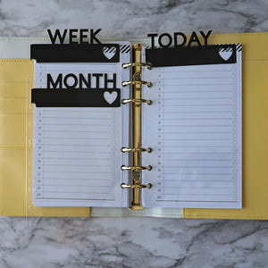 A5 Planner Divider, Personal Planner Accessories, Clear and Black Page Marker