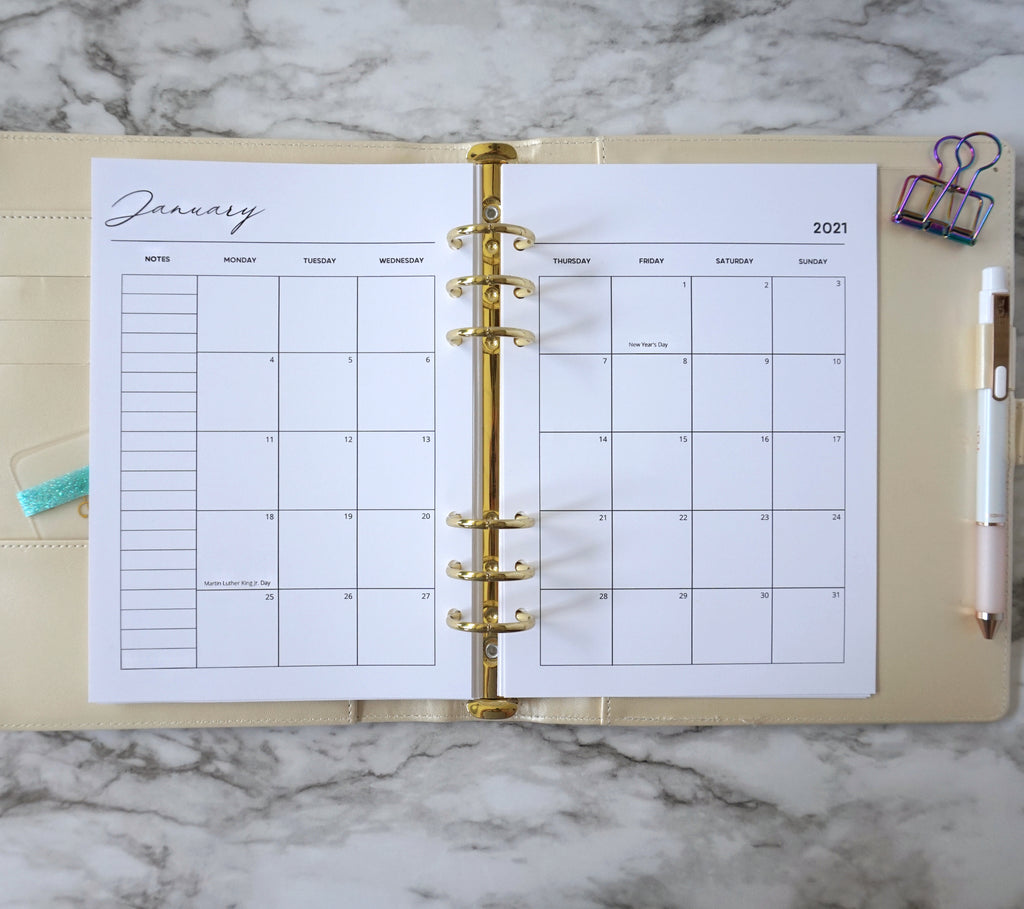 Planner Calendar Dated 1 Year