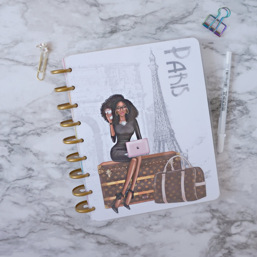 Planner Cover Featuring Paris Planner Girl for Discbound System