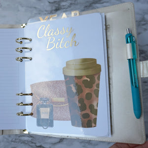Personal Planner Dashboard, A5 and Pocket Size, Discbound Dashboard Classic Size Gold Foil
