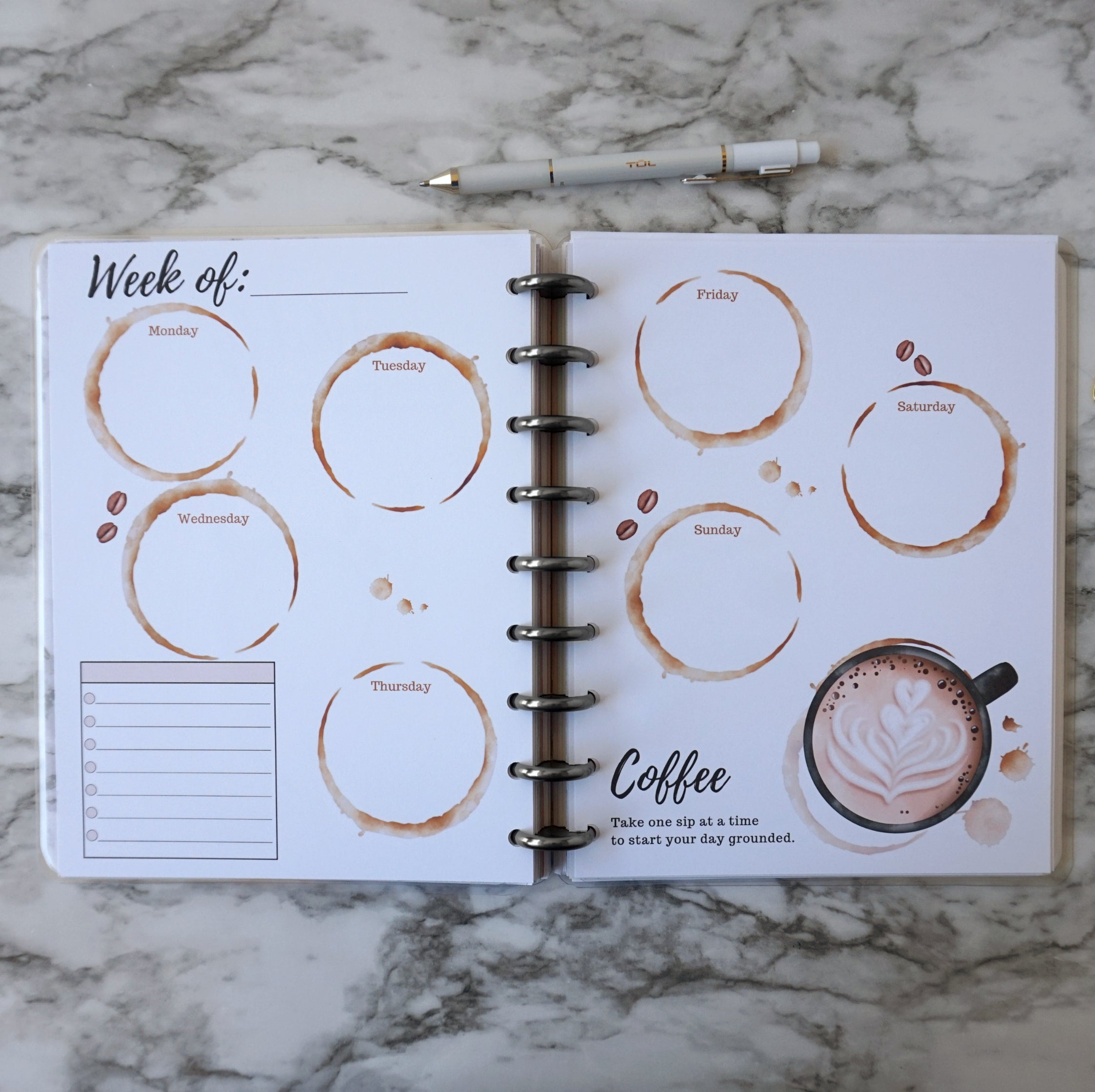 Planner Weekly Inserts Coffee Layout