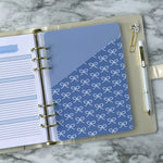 Planner Folder in Blue Bow Pattern