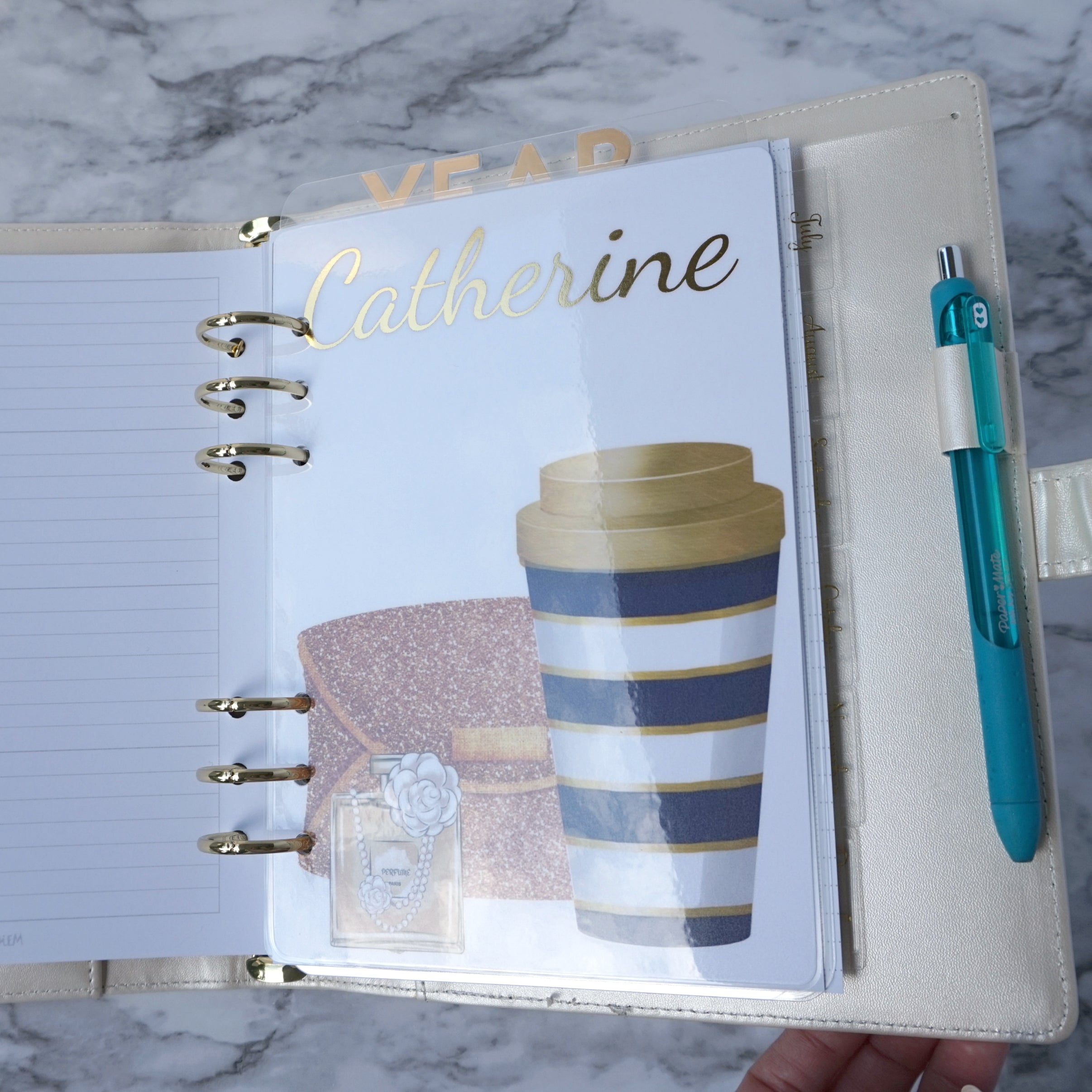 Coffee Planner Dashboard Gold Foil Custom