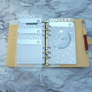 Personal Size Clear Planner Dividers in Silver with Star Cutout
