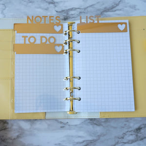 Personal Size and A5 Planner Divider Pagemarkers To Do Notes List
