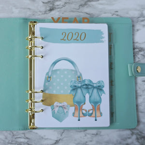 Clear Planner Divider A5, Personal Size, and Pocket Size in Year in Gold Foil