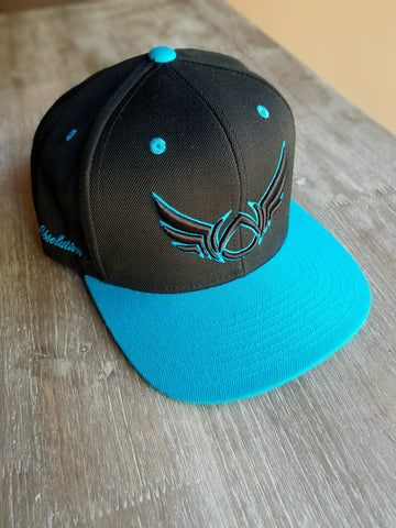 Snap back cap Black and Teal Absolution Apparel