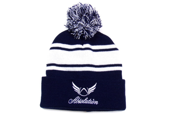 Navy blue pom-pom beanie Absolution Apparel