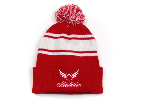 Red pom-pom beanie Absolution Apparel
