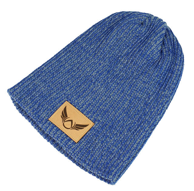 Patched Heather Blue Beanie - Absolution Apparel - 3