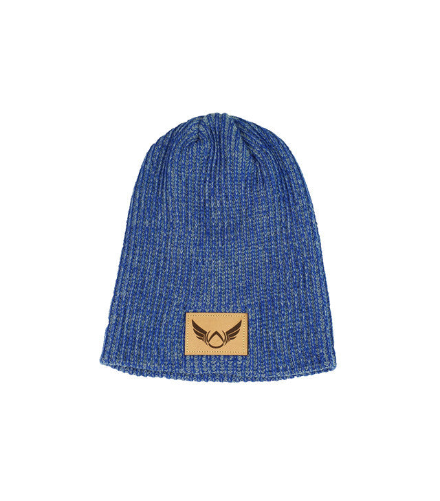 Patched Heather Blue Beanie - Absolution Apparel - 1