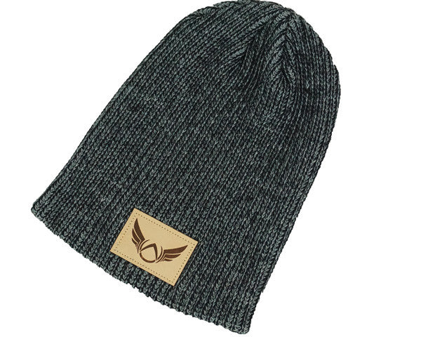 Patched Heather Black Beanie - Absolution Apparel - 2