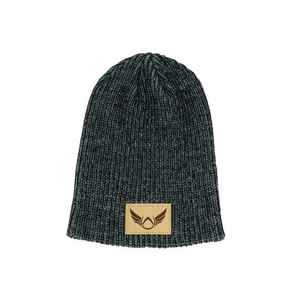 Patched Heather Black Beanie - Absolution Apparel - 1