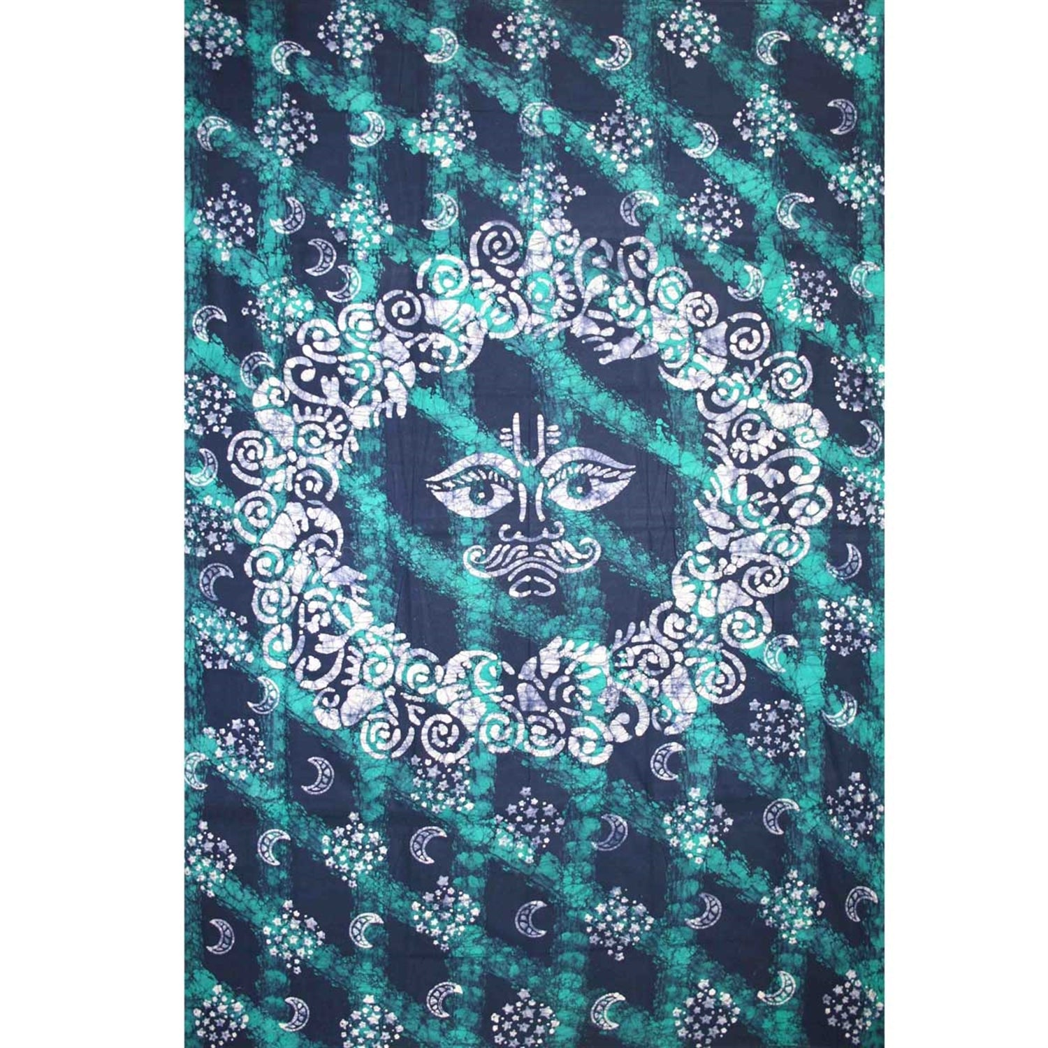"Celestial Batik Tapestry Cotton Spread 106"" x 72"" Twin Teal"