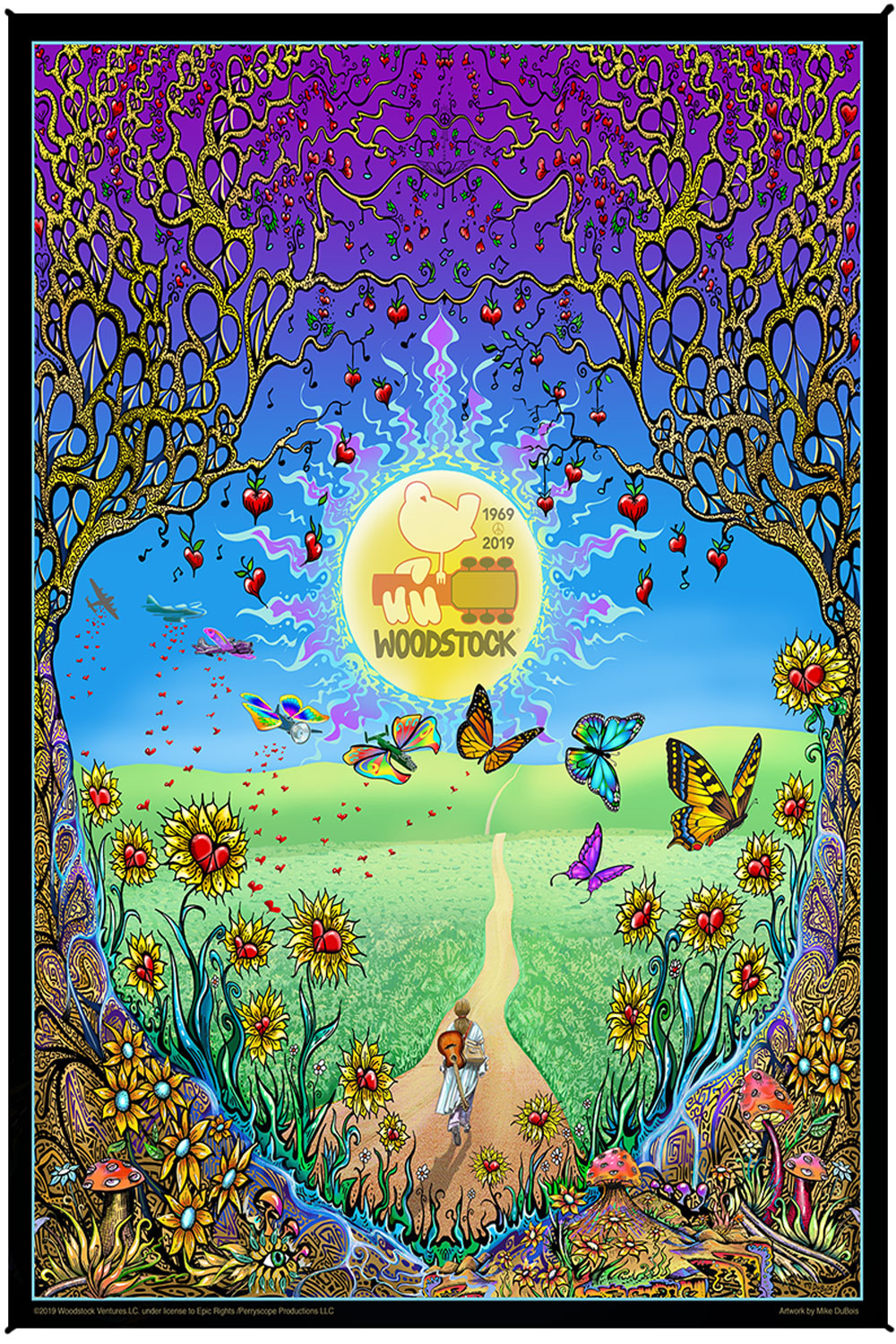 Woodstock Back To The Garden Heady Art Print Mini Tapestry 30x45 with FREE 3-D Glasses