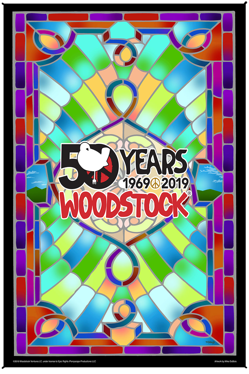 "Woodstock Stained Glass 50th Anniversary Heady Art Print Tapestry 53"" x 85"" with FREE 3-D Glasses"
