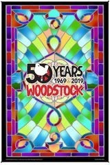 Woodstock Stained Glass 50th Anniversary Heady Art Print Mini Tapestry 30x45 with FREE 3-D Glasses