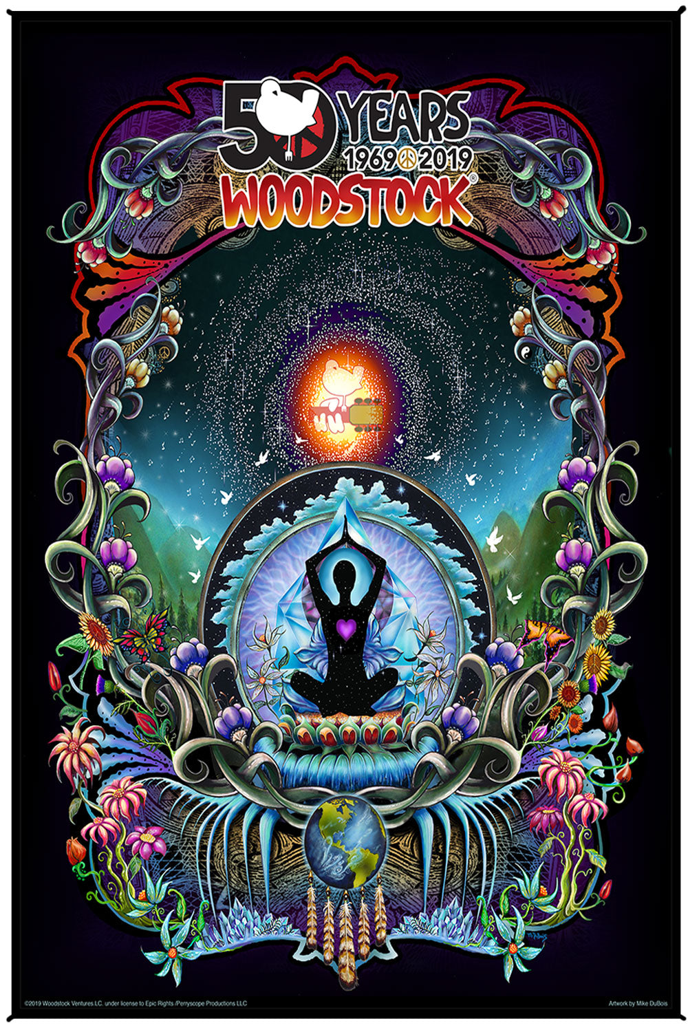 Woodstock We Are Stardust 50th Anniversary Heady Art Print Tapestry 53x85 with FREE 3-D Glasses