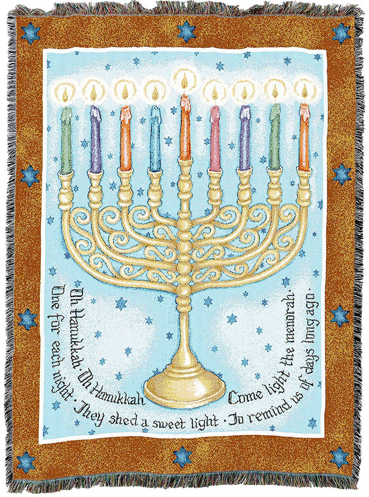 Eight Days Hanukkah Menorah Woven Tapestry Throw Blanket with Fringe Cotton USA 72x54