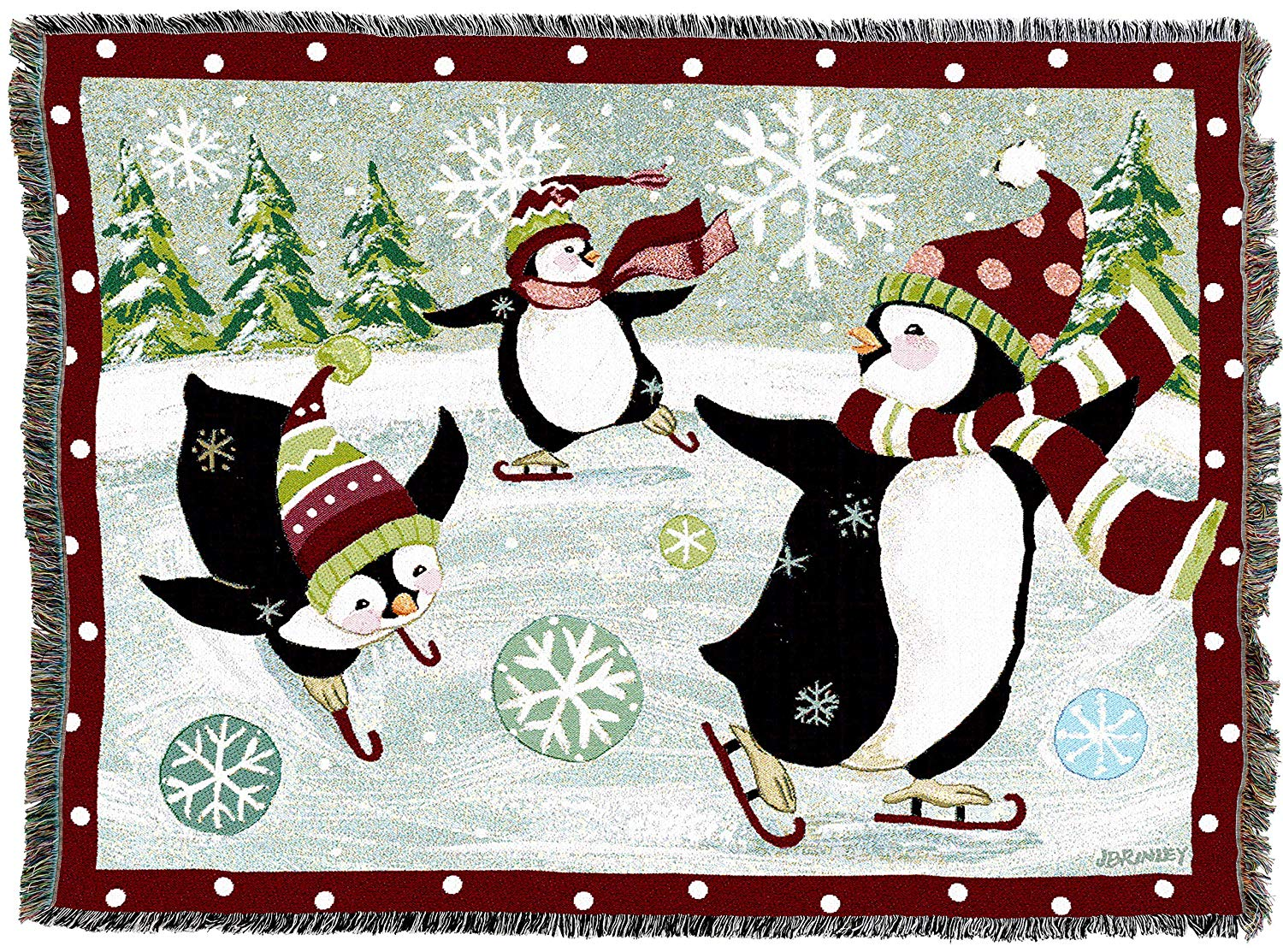 Whimsical Skating Penguins Woven Tapestry Throw Blanket with Fringe Cotton USA 72x54
