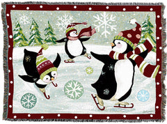 Christmas Penguin Woven Tapestry Throw Blanket with Fringe Cotton USA 72x54
