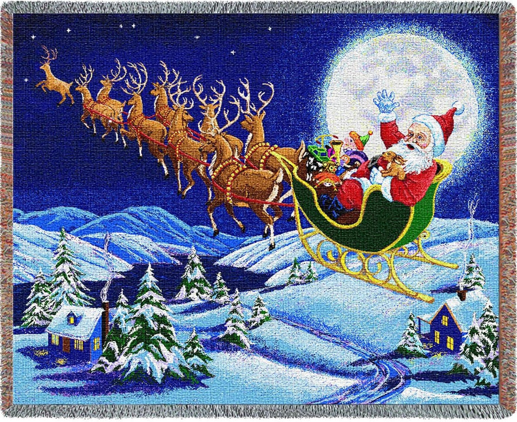 Christmas Magic Sleigh Ride Woven Tapestry Throw Blanket with Fringe Cotton USA 72x54