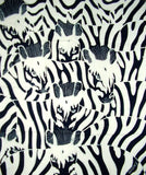 "Authentic Cotton Batik Textile Art Hidden Zebras 19"" x 17"" Black"