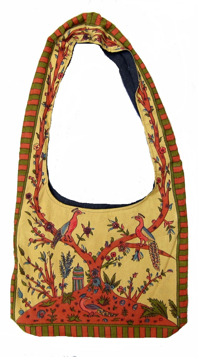 Gorgeous Tree of Life Hobo Shoulder Bag 15 x 12 Mustard