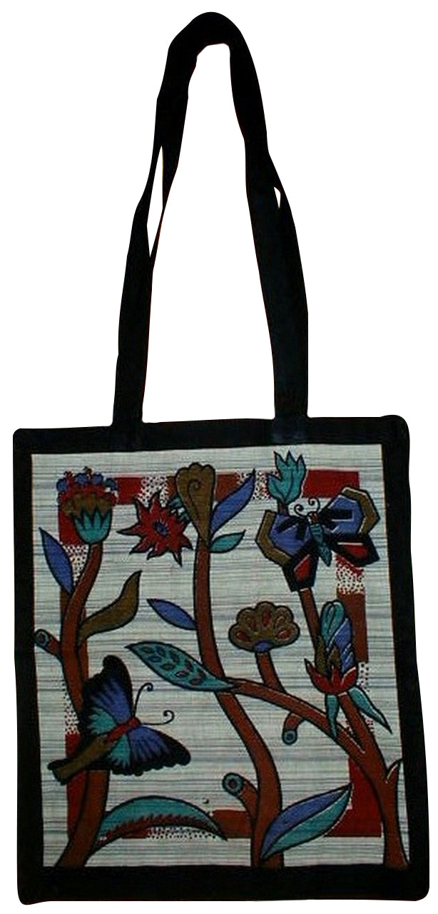 Floral Butterfly Tote Bag School Office 14 x 17 Green