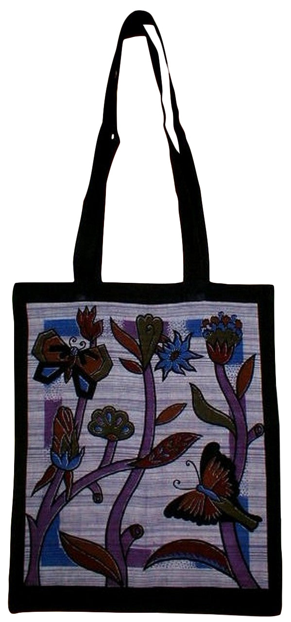 Floral Butterfly Tote Bag School Office 14 x 17 Purple