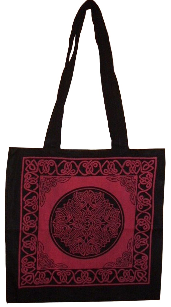 Celtic Circle Tote Bag School Office Shop 16 x 17 Red