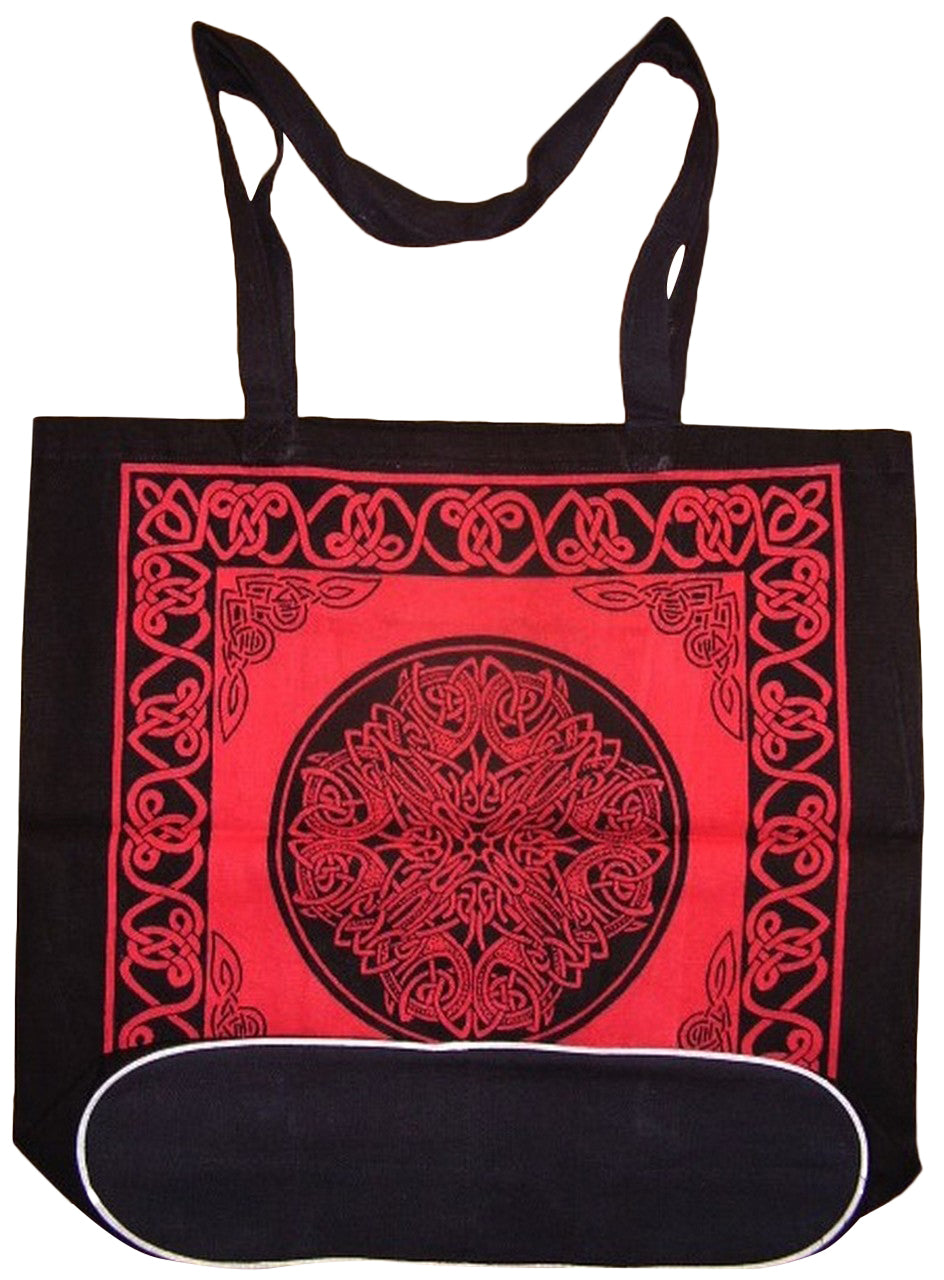 Celtic Tote Shopping Bag Flat Bottom 16 x 17 Red
