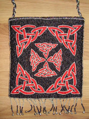 Beaded Celtic Evening Bag Purse 7 x 7 Red/Black
