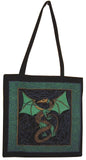 Celtic Dragon Tote Bag Cotton Flat Bottom 16 x 17 Green