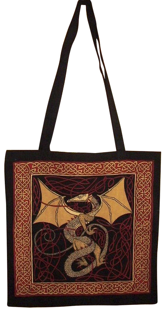 Celtic Dragon Tote Bag Cotton Flat Bottom 16 x 17 Red
