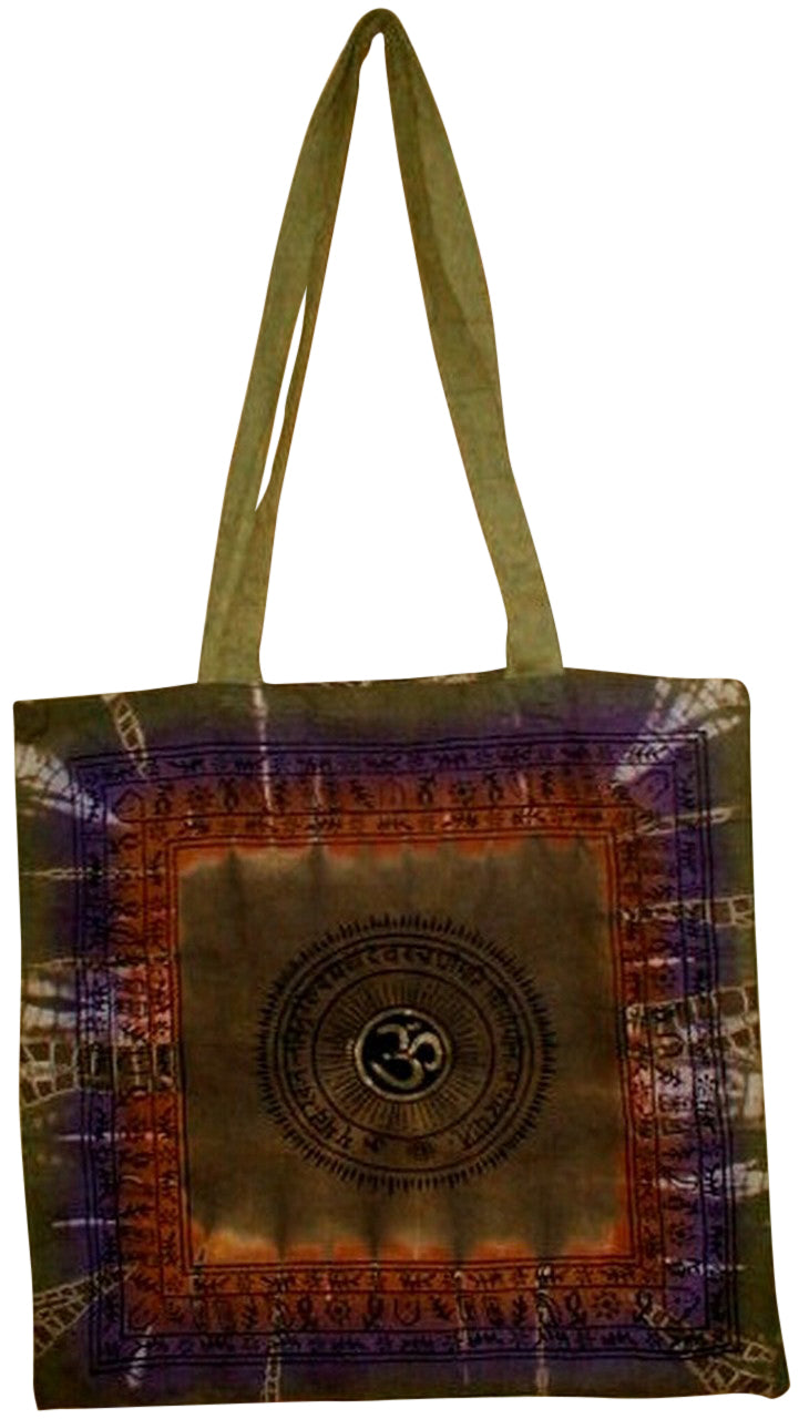 Om Tie Dye Tote Bag School Office Shop 16 x 18 Sage