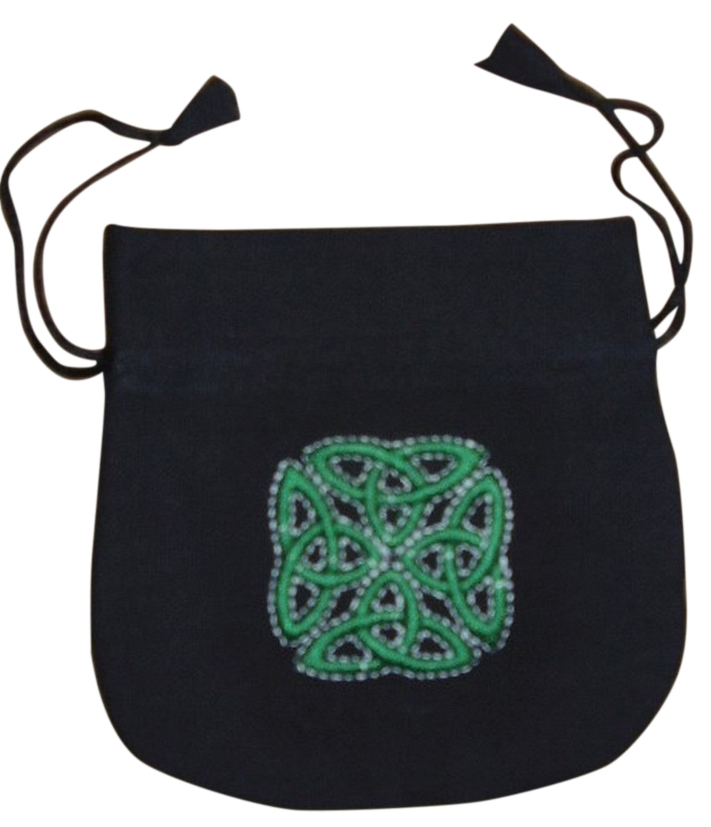 Tiny Embroidered Celtic Satchel Totem Bag 5 x 5 Green