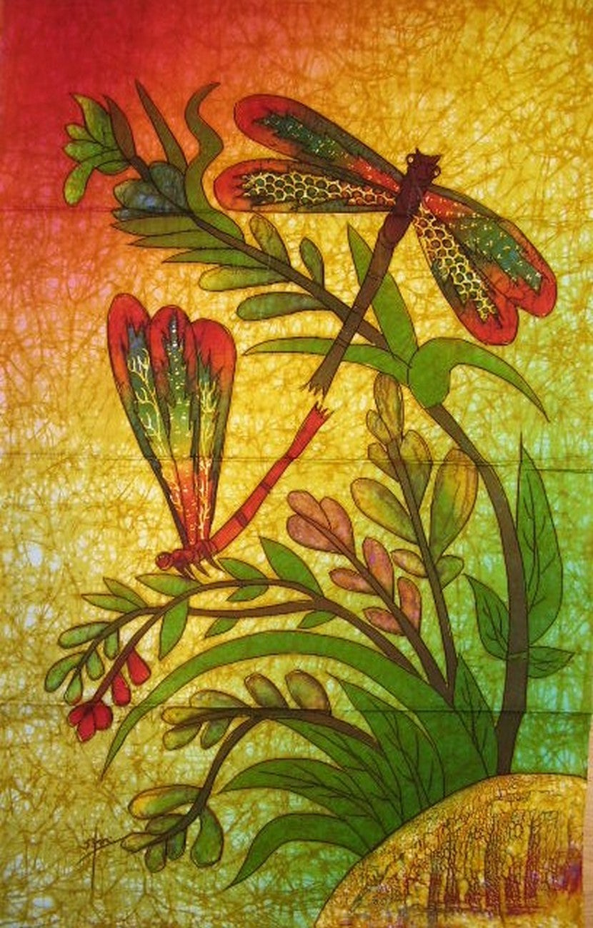 "Authentic Cotton Batik Textile Art Dragonfly Love 18"" x 28"" Multi Color"
