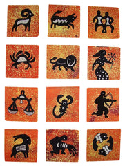 "Authentic Cotton Batik Textile Art Packet Astrological Zodiac 5"" x 5"" Orange"