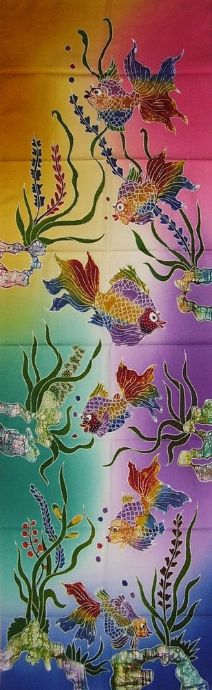 "Authentic Cotton Batik Textile Art Tropical Fish 56"" x 18"" Multi Color"